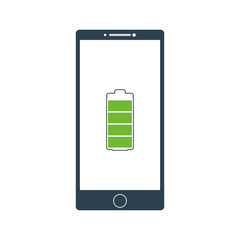 Smartphone with charged battery sign. Full battery sign. Vector illustration