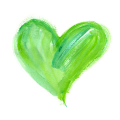 Big bright green heart painted in watercolor on clean white background