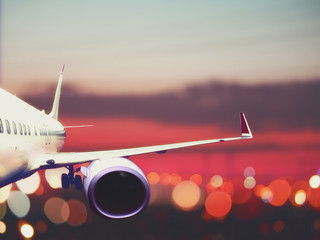 airplane taking off from the airport. fragment of the body of aircraft. business travel concept