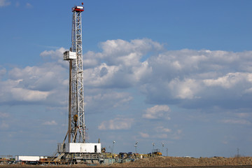 Oil drilling rig on oilfield
