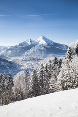 Wall Mural - Watzmann mountain summit in winter, Bavaria, Germany