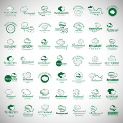 Chef Hat Icons Set-Isolated On Gray Background.Vector Illustration,Graphic Design.For Web Site,App,Print,Presentation Templates,Mobile Applications And Promotional Materials.Huge Thin Line Collection