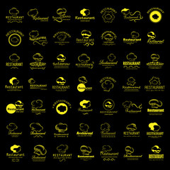 Chef Hat Icons Set-Isolated On Black Background.Vector Illustration,Graphic Design.For Web Site,App,Print,Presentation Templates,Mobile Applications And Promotional Materials.Huge Thin Line Collection