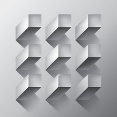 Volume realistic vector abstraction, cubes with shadow, gray geometric, design wallpaper