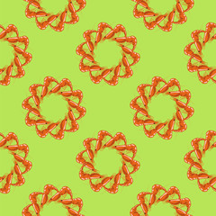 Cooked Red Shrimps Seamless Pattern on Green Background. Exquisite Sea Food.
