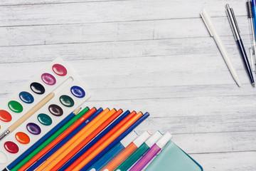 watercolors, brush, pencils
