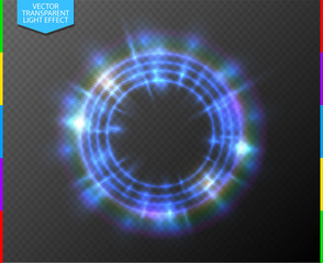 Wall Mural - Abstract semitransparent blue light neon line glowing ring with colorful spotlight. Magic portal on transparent background. Glow translucent special effect