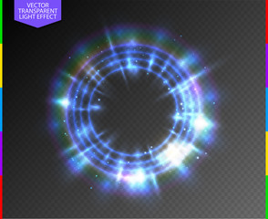 Abstract semitransparent blue light neon line glowing ring with colorful spotlight and spark. Magic sparkling portal on transparent background. Glow translucent special effect