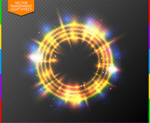 Canvas Print - Abstract semitransparent golden light neon line glowing ring with colorful spotlight and spark. Magic sparkling portal on transparent background. Glow translucent special effect