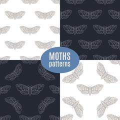 Hand drawn hawk moth vector seamless patterns set