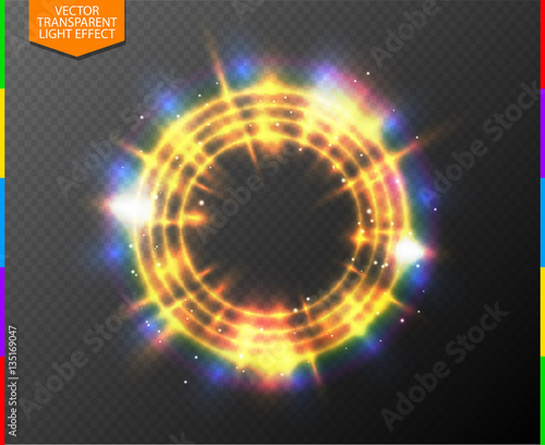 Wall mural Abstract semitransparent golden light neon line glowing ring with colorful spotlight and spark. Magic sparkling portal on transparent background. Glow translucent special effect