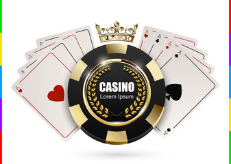 VIP poker luxury black and golden chip in golden crown with ace card vector casino logo concept. Royal poker club emblem with laurel wreath isolated on white background