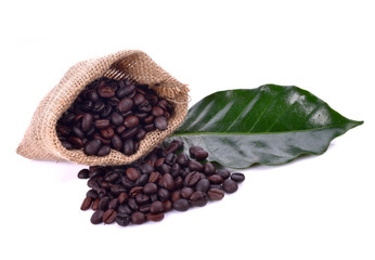 Wall Mural - Coffee beans and leaf on white background