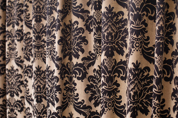 brown curtain with a pattern textile texture background