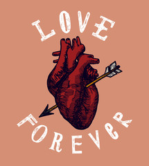 love forever human heart with arrow grunge card.