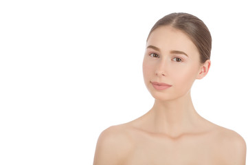 Woman with a natural beauty makeup look - isolated over a white background