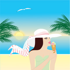 woman in hat eating ice cream on the beach sun palm seagull art creative modern vector illustration travel poster
