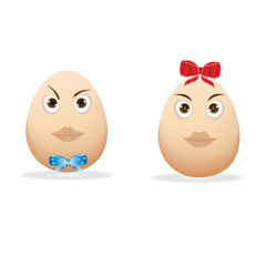 two egg cartoon image of a boy and girl blue and red bow isolated on white background art creative vector design element