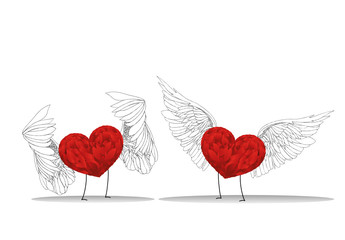 Two red hearts with wings and legs meet. Valentine's Day.