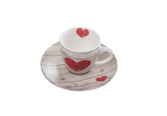 Coffee cup with a picture of heart.