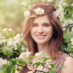 Cute Smiling Woman with White Flowers Wreath Outdoors. Natural B