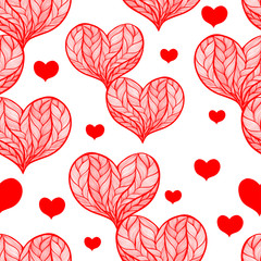 Seamless vector background - hearts. Use printed materials, signs, items, websites, maps, posters, postcards, packaging.