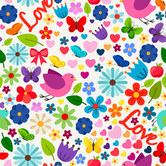 Cute spring love seamless pattern for greeting card, wedding invitation card, birthday and other holidays decoration. Vector illustration