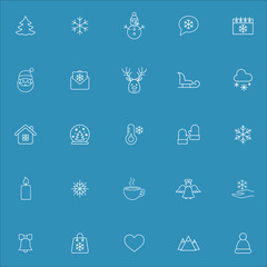 winter cold snow vector line icons set