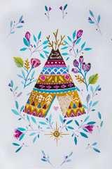 Sketch American tepee with flowers on a white background.