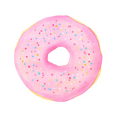 Doughnut or donut watercolor illustration