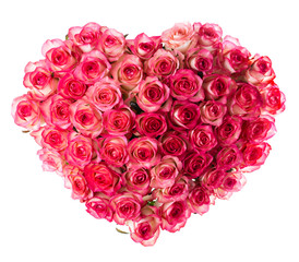bouquet of pink roses, top view heart, isolated on white backgro