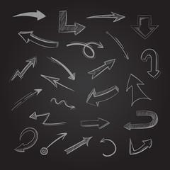 Abstract doodle chalk arrows on blackboard vector illustration