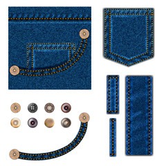 Jeans and buttons. vector illustration set. Blue denim background with pocket, metal snaps collection and texture border elements wth stitch. isolated over white.