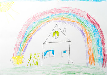 child's drawing. home rainbow happy family