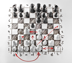 Chess. White board with chess figures on it. Plan of battle. The white Bishop is under attack.