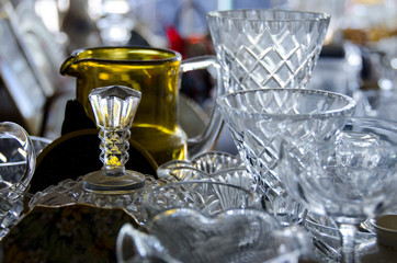 Antique crystal and glassware items in shop