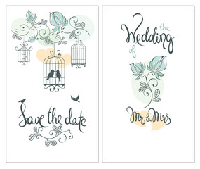 Save the date, wedding invitation card / Classic vector ornaments for invitation with birds