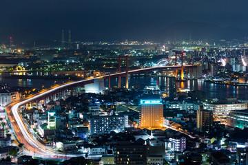 Fukuoka city at night Wall mural
