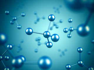 Abstract blue molecule microbiology science background