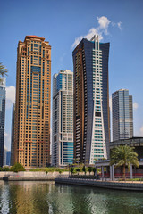 View on the Jumeirah Lakes Towers skyscrapers. Dubai, UAE.