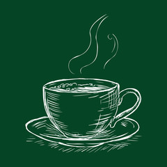 Vector Chalk Sketch Illustration - Cup of Coffee