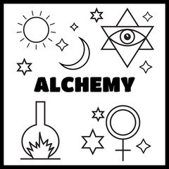Alchemy, spirituality symbols in flat style