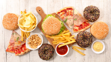 Fototapeta collection of junk food obraz