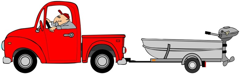 Illustration of a man driving a pickup truck hauling an aluminum fishing boat on a trailer.