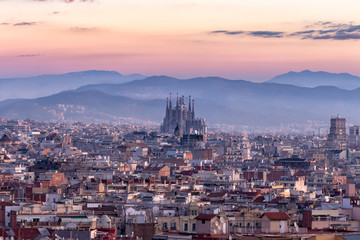 Foto auf Leinwand Barcelona Sagrada Familia and panorama view of barcelona city,Spain