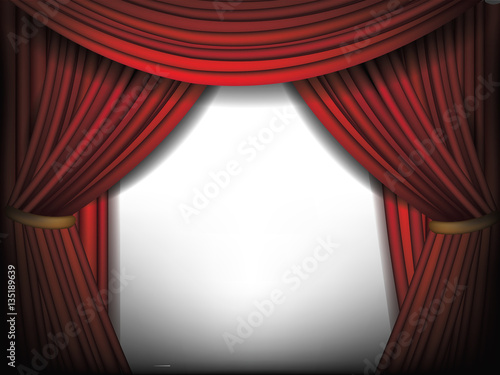 Luxurious Red Curtains Background Template Grand Opening Or Other Event Announcement With Dramatic Movie