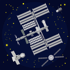 International Space Station flat vector illustration
