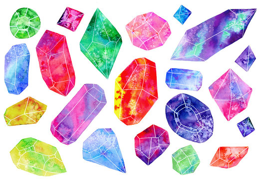 Set of gems or crystals. watercolor illustration