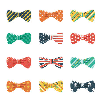 Set of Bow Tie in Different Colors and Patterns