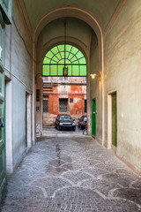Canvas Prints Old Hospital Beelitz patio in urban house in Rome city in winter